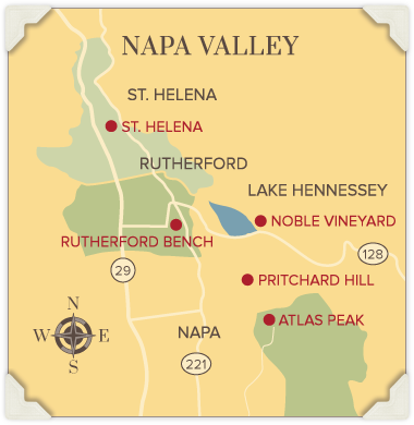 Map of Napa Valley wine growing regions